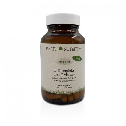 Earth Nutrition - B Kompleks + Vitamin C -120 kapsler