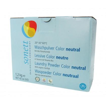 Vaskemiddel, tøy, nøytral, color, pulver, 1.2 kg, økologisk, Sonett