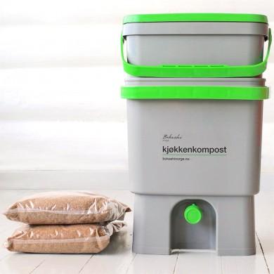Bokashi kjøkkenkompost - 2 bøtter og 2 kg strø